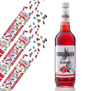Set 3 Party Popper Farbregen + 1 Drink 0,7 Cranberry